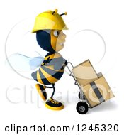 Clipart Of A 3d Contractor Worker Bee Pushing Boxes On A Dolly 3 Royalty Free Illustration