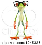 Clipart Of A 3d Standing Bespectacled Argie Frog Royalty Free Illustration