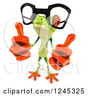 Clipart Of A 3d Bespectacled Argie Frog Holding Two Thumbs Up Royalty Free Illustration