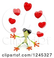Clipart Of A 3d Argie Frog Wearing Sunglasses And Juggling Hearts Royalty Free Illustration