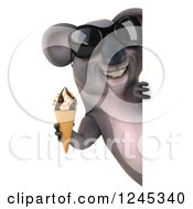 Clipart Of A 3d Koala Wearing Sunglasses And Holding An Ice Cream Cone Around A Sign Royalty Free Illustration