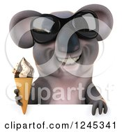 Clipart Of A 3d Koala Wearing Sunglasses And Holding An Ice Cream Cone Over A Sign Royalty Free Illustration