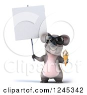Clipart Of A 3d Koala Wearing Sunglasses And Holding An Ice Cream Cone And Blank Sign Royalty Free Illustration