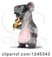 Clipart Of A 3d Koala Wearing Sunglasses And Eating An Ice Cream Cone Royalty Free Illustration