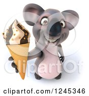 Clipart Of A 3d Koala Holding Up An Ice Cream Cone Royalty Free Illustration