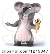 Clipart Of A 3d Koala Holding An Ice Cream Cone Royalty Free Illustration