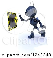 Clipart Of A 3d Blue Android Robot Pushing A Radioactive Button Royalty Free Illustration