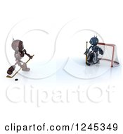 Clipart Of 3d Red And Blue Android Robots Playing Hockey 3 Royalty Free Illustration