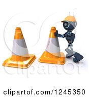 Clipart Of A 3d Blue Road Construction Worker Android Robot With Cones Royalty Free Illustration by KJ Pargeter