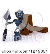 Clipart Of A 3d Blue Android Robot Mason Worker With Giant Bricks And A Trowel Royalty Free Illustration by KJ Pargeter