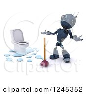 Clipart Of A 3d Frustrated Blue Android Robot Plumber With A Toilet And Plunger Royalty Free Illustration by KJ Pargeter