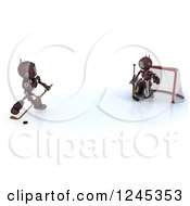 Clipart Of 3d Red Android Robots Playing Hockey Royalty Free Illustration