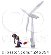 Clipart Of A 3d Red Robot And Plug At A Wind Turbine Royalty Free Illustration by KJ Pargeter