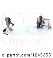 Clipart Of 3d Red And Blue Android Robots Playing Hockey 4 Royalty Free Illustration