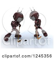 Clipart Of 3d Red Android Robots Playing Hockey 2 Royalty Free Illustration