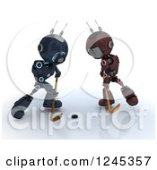 Clipart Of 3d Red And Blue Android Robots Playing Hockey 5 Royalty Free Illustration