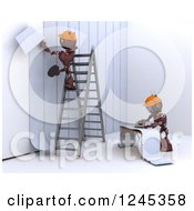 Clipart Of 3d Red Construction Android Robots Applying Wallpaper Royalty Free Illustration