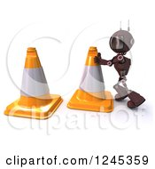 Clipart Of A 3d Blue Road Construction Worker Android Robot With Cones Royalty Free Illustration