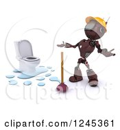 Clipart Of A 3d Frustrated Red Android Robot Plumber With A Toilet And Plunger Royalty Free Illustration by KJ Pargeter