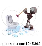 Clipart Of A 3d Red Android Robot Plumber Plunging A Toilet Royalty Free Illustration by KJ Pargeter