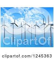 3d Wind Farm In The Ocean