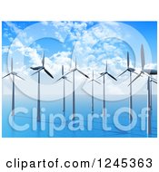 Clipart Of A 3d Wind Farm In The Ocean Royalty Free Illustration by KJ Pargeter