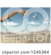 3d Giant Hand Putting Wind Turbines In A Desert Landscape