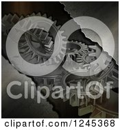 Clipart Of A 3d Metal Background With Gears Royalty Free Illustration by KJ Pargeter
