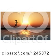 Clipart Of A 3d Silhouetted Woman Jogging Against An Ocean Sunset Royalty Free Illustration