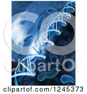 Clipart Of A Background Of 3d Dna Strands And Viruses In Blue Royalty Free Illustration