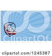 Clipart Of A Blue Ray American Revolutionary Soldier Background Or Business Card Design Royalty Free Illustration