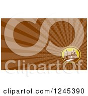 Clipart Of A Brown Ray Farmer And Tractor Background Or Business Card Design Royalty Free Illustration