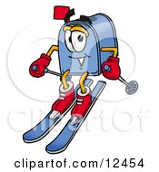 Blue Postal Mailbox Cartoon Character Skiing Downhill