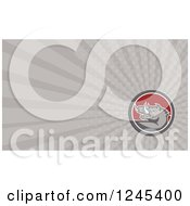 Clipart Of A Gray Ray Razorback Boar Background Or Business Card Design Royalty Free Illustration