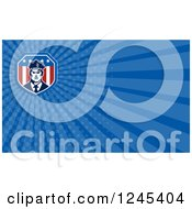 Clipart Of A Blue Ray Security Guard Background Or Business Card Design Royalty Free Illustration by patrimonio