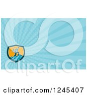 Clipart Of A Blue Ray Mountain Climber Background Or Business Card Design Royalty Free Illustration
