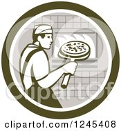 Clipart Of A Retro Male Chef Inserting A Pizza And Peel In A Brick Oven Royalty Free Vector Illustration