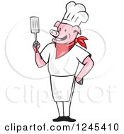 Clipart Of A Chef Pig Holding A Spatula Royalty Free Vector Illustration