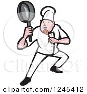Cartoon Male Chef In A Kung Fu Fighting Stance
