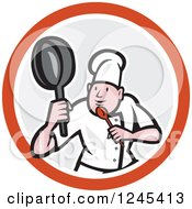 Cartoon Male Chef In A Kung Fu Fighting Stance Inside A Circle