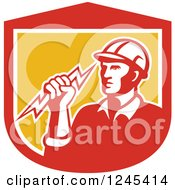 Clipart Of A Retro Male Electrician Holding A Bolt In A Shield Royalty Free Vector Illustration