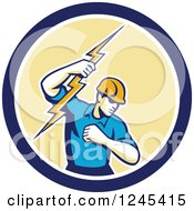 Retro Male Electrician Holding Up A Bolt In A Blue And Yellow Circle