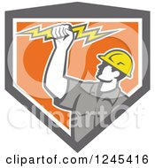Clipart Of A Retro Male Electrician Holding Up A Bolt In A Gray And Orang Shield Royalty Free Vector Illustration by patrimonio