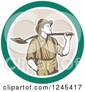 Retro Male Miner With A Shovel Over His Shoulder In A Circle