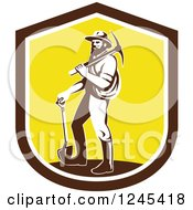 Retro Male Miner Carrying A Pickaxe And Standing With A Shovel In A Shield