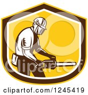 Retro Woodcut Male Arborist Holding A Chainsaw In A Shield
