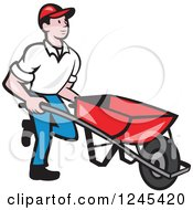 Clipart Of A Cartoon Male Landscaper Pushing A Wheelbarrow Royalty Free Vector Illustration