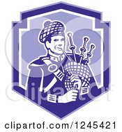 Retro Male Scotsman Bagpiper In A Blue Shield