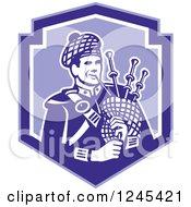 Retro Male Scotsman Bagpiper In A Blue Shield