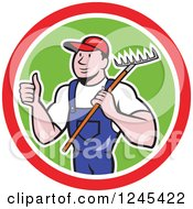 Clipart Of A Cartoon Male Gardener Holding A Thumb Up And Rake In A Circle Royalty Free Vector Illustration